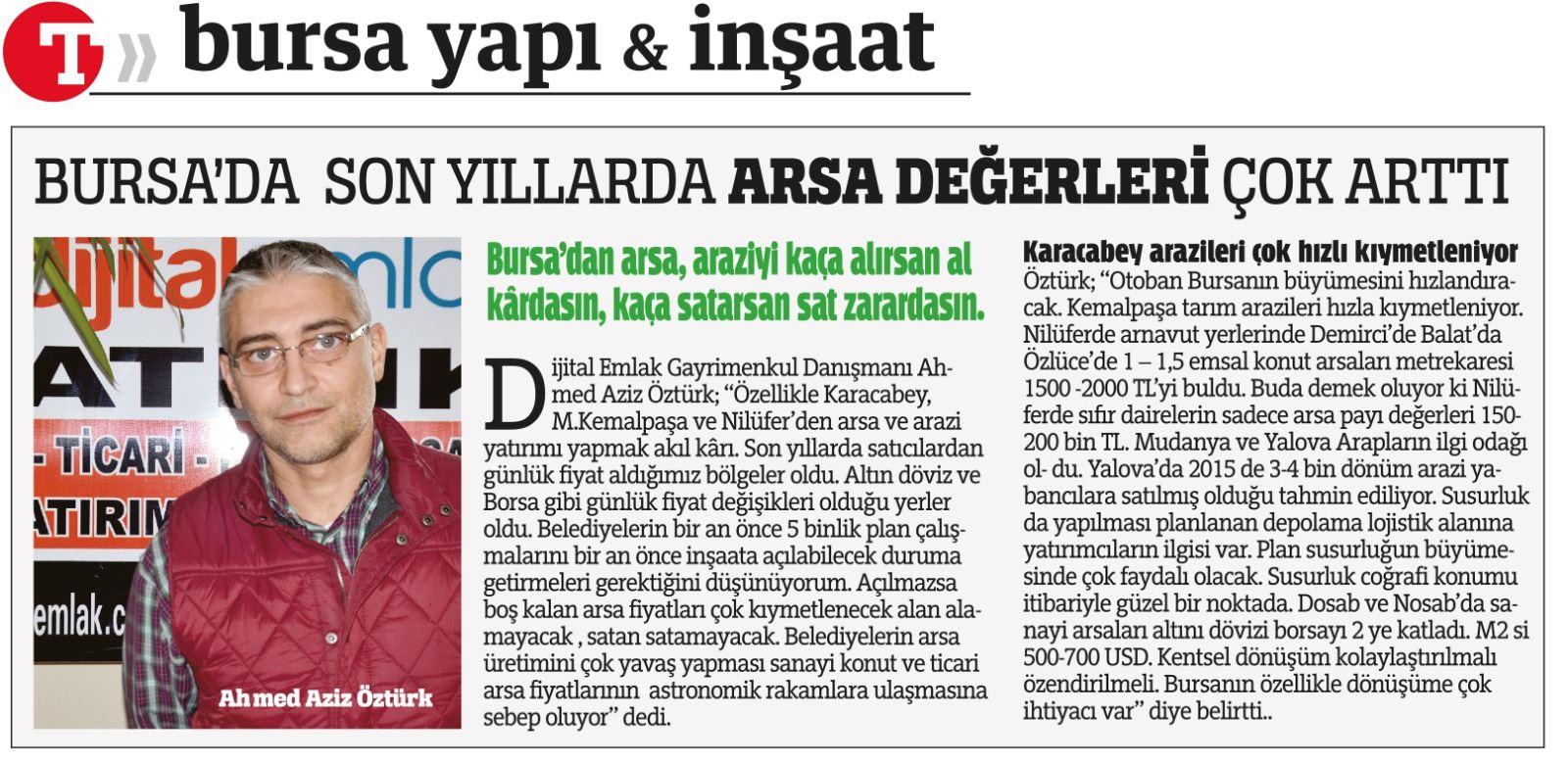 Son Yıllarda Bursa!da Arsa Fiyatları çok Arttı.